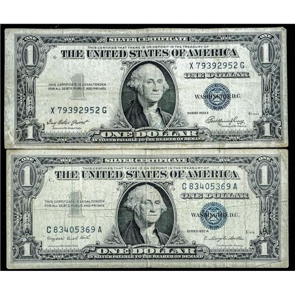 Lot (2) USA 1935 and 1957 1.00 Silver certificates