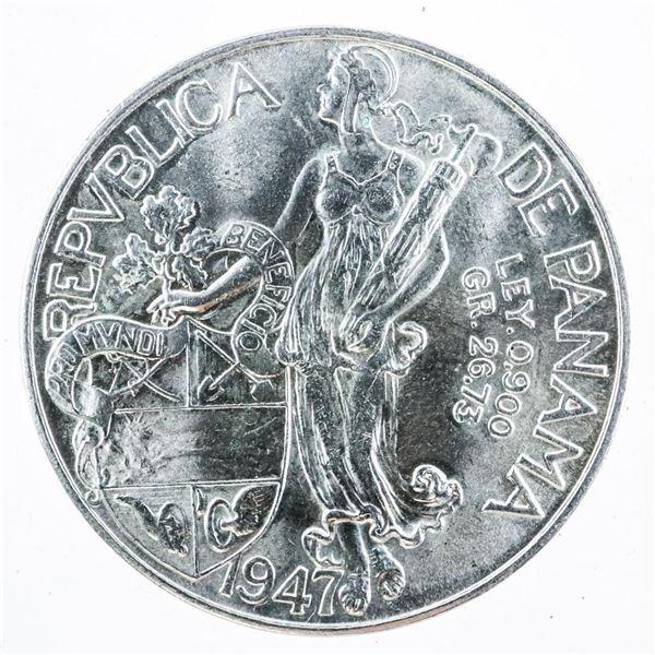 Republic De Panama 1947 VN-Balboa .900 Fine
