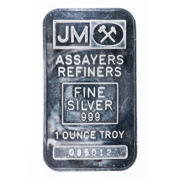 JM - Vintage Collector Bullion .999 Fine Silver 1oz Troy Plain Back, Logo Front, Serialized