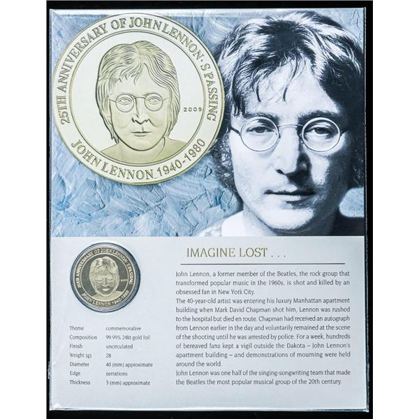 Imagine Lost 'John Lennon' 24kt Gold Foil UNC Commemorative Medallion and 8x10 Giclee
