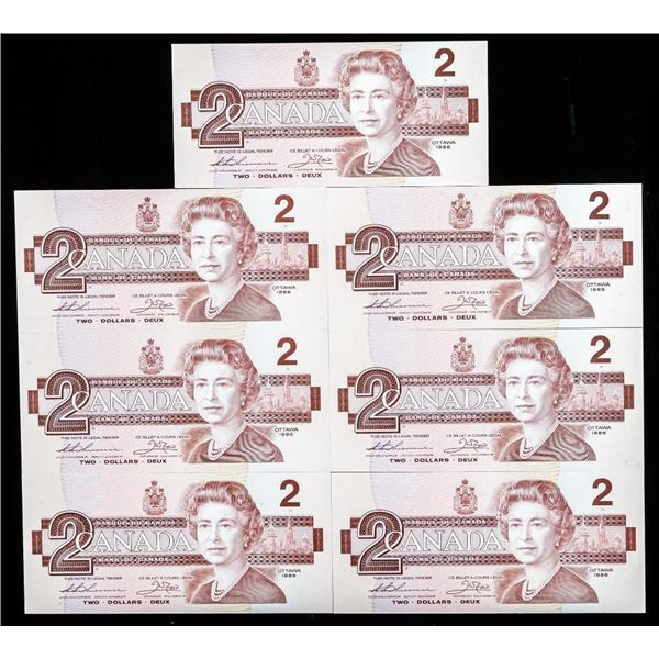 Lot (2) Bank of CANADA 1986 2.00 'UNC' 9 in Sequence