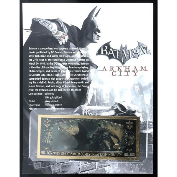 BATMAN 24kt Gold Gilded Collectible with 8x10 Giclee