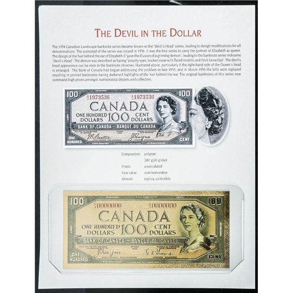 The Devil in the Dollar - 24kt Gold Gilded 100.00 on Art Card.