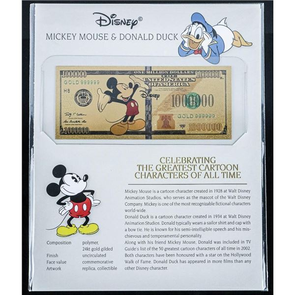 DISNEY Collectible 24kt Gold Gilded Million Dollars with 8x10 Giclee