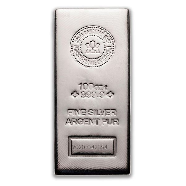 Premier - Royal Canadian Mint 100oz Poured .9999 Fine Silver Bar. Collectible Worldwide.