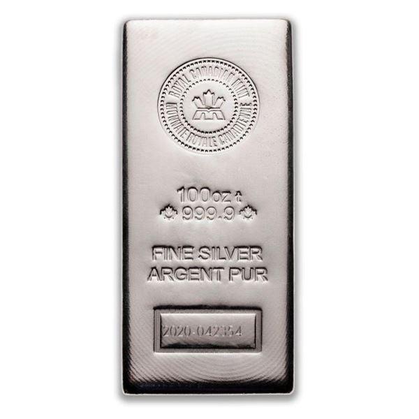 Premier - Royal Canadian Mint 100oz Fine Silver Ba