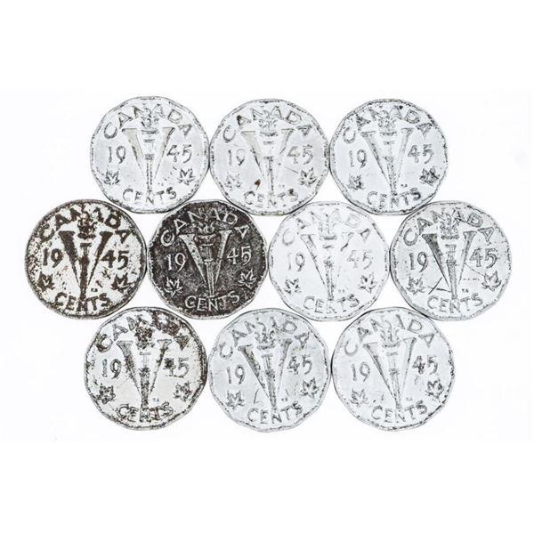 Lot (10) CANADA 1945 V Nickels
