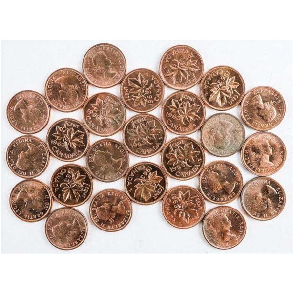 Lot (25) Canada 1963 1 Cent 'BU' Coins. CAT 7.00 e