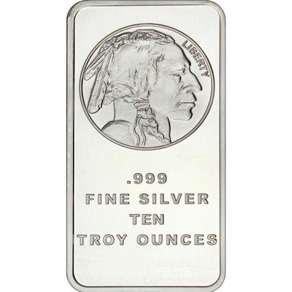 USA - .999 Fine Silver Indian Head/Buffalo 10oz Ba
