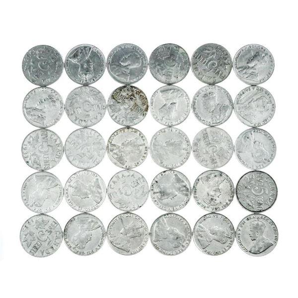 Lot (30) King George V Nickels 1922-1936 (657)