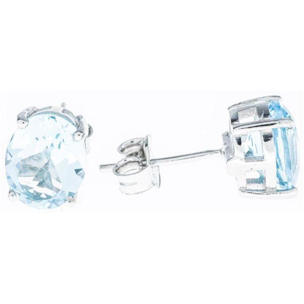 925 Sterling Silver Stud Earrings 2 Oval Cut Blue