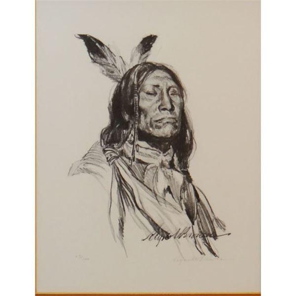 "Brown, Reynold (1917-1991) Indian Portrait, pencil print, #53/100, 10"" x 8"""