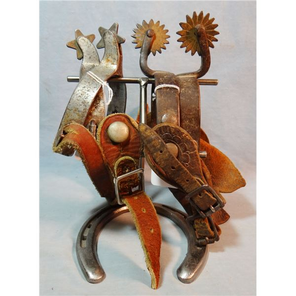 Kelly short-shank spurs w/5 pt rowels and Buermann 1880's OK spurs, double buttoned, scalloped strap