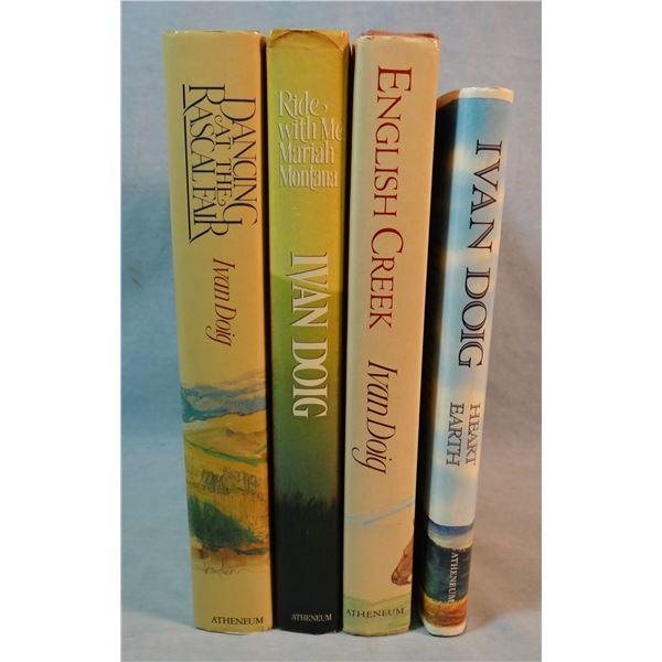 4 books by Doig, Ivan, Heart Earth, English Creek, Dancing At The Rascal Fair, Ride With Me Mariah M