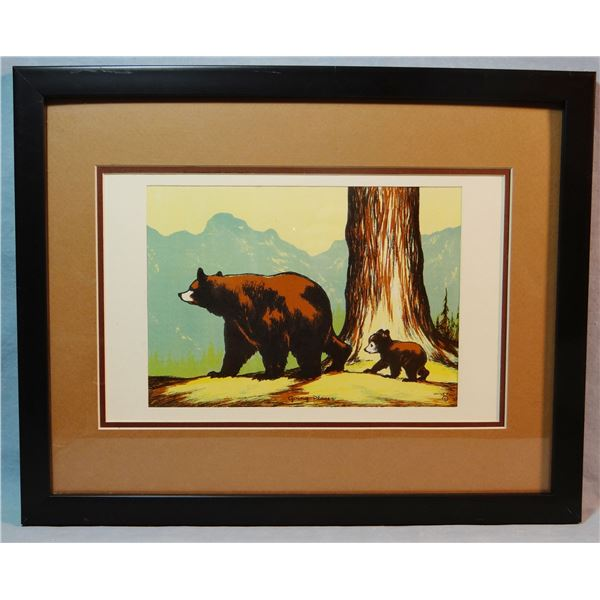 """Fell, Olive, 6 x 8 ½"""" color serigraph, Going Places, Mama Bear & Cub, YNP"""