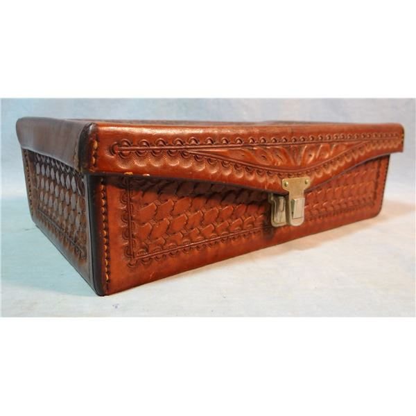 Al Furstnow fancy tooled leather jewelry box, personalized to Don Strong