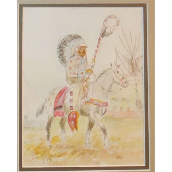 """Contway, Jay, War Bonnet on Parade, water color, 10"""" x 8"""""""