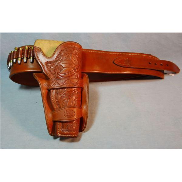 Flower tooled holster & marked cartridge belt by Bob Pletan, Wilsall, MT