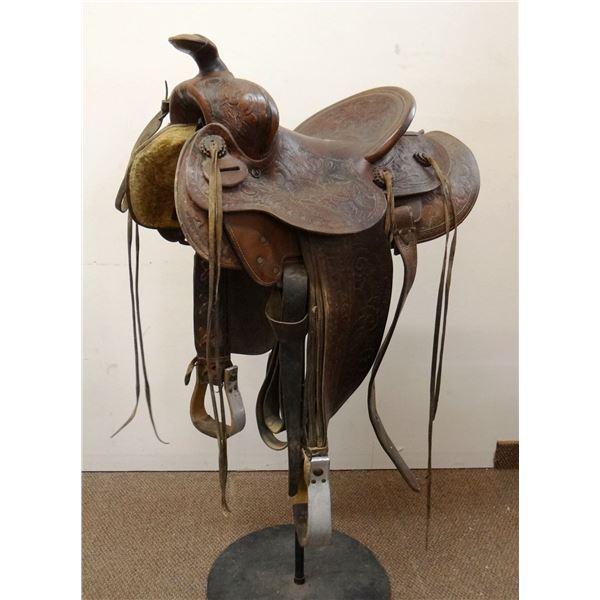 "Pete VerBeck 14"" saddle, full tooled"
