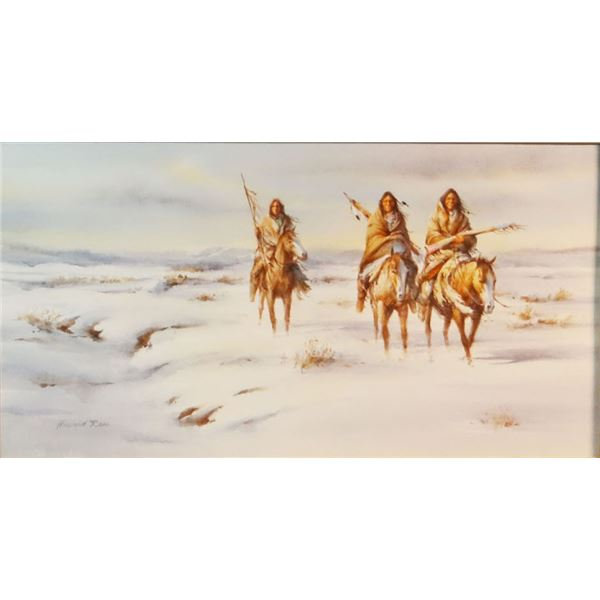 """Rees, Howard, water color, A Cold Wind, 12"""" x 20"""""""