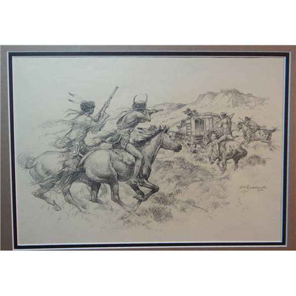 "L. F. Bjorkland original drawing, Stage Coach Attack, 1972, 10"" x 14"""