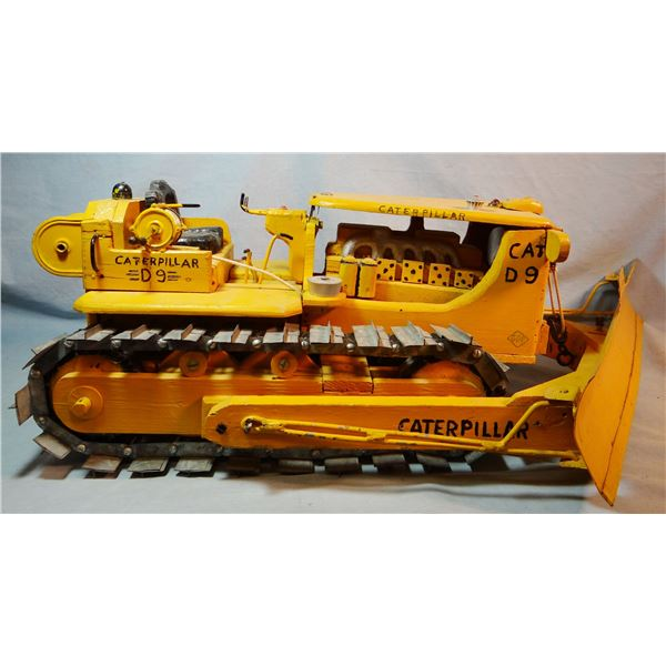 Hand carved wooden Caterpillar dozer, 1/8 scale, museum quality