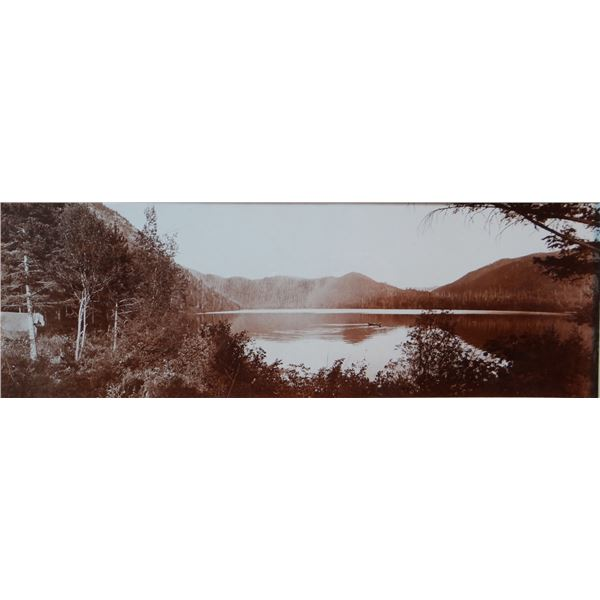 """L. A. Huffman (1854-1931) sepia toned original collotype, Little St. Mary's Lake, 1901, 4"""" x 12"""", ra"""