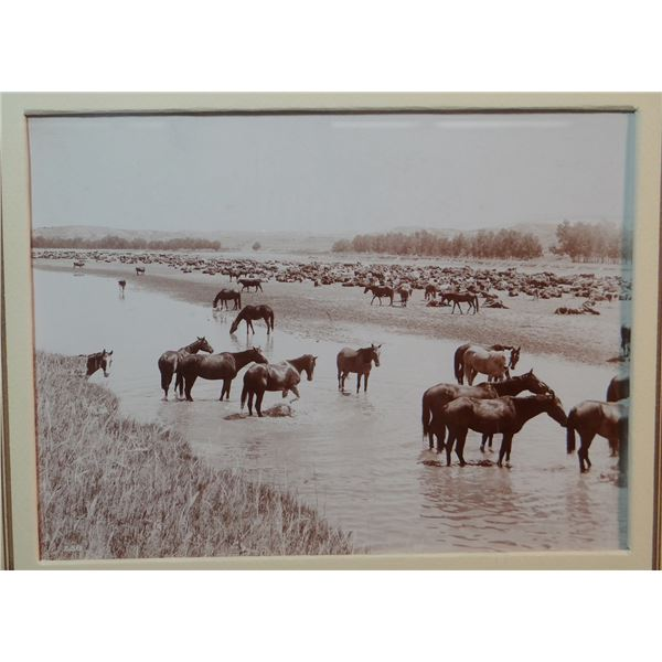 """L. A. Huffman (1854-1931) sepia toned original photograph, Hot Noon Beside The Roundup Camp, 6"""" x 8"""""""