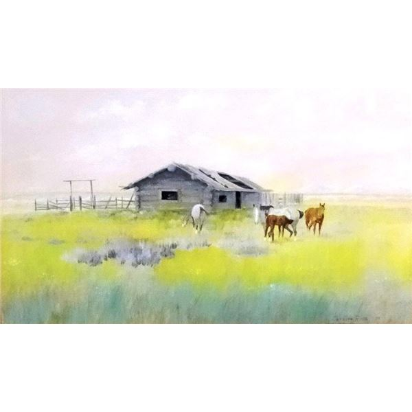 """Cuts The Rope, Clarence, (1935-2000) water color, Homestead Cabin, 1978, 18"""" x 30"""", signed lower rig"""