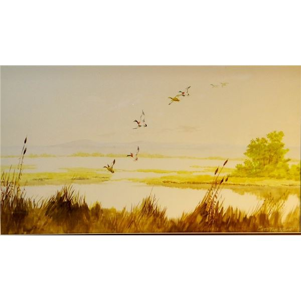 """CutsThe Rope, Clarence, (1935-2000)water color, Mallards Incoming, 1978, 20"""" x 30"""", Est. $800 - $120"""