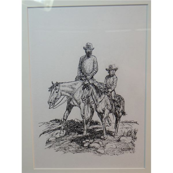 """Will James original drawing, (1892-1942) Cowboy In The Making, 1937, 9"""" x 7"""", signed"""