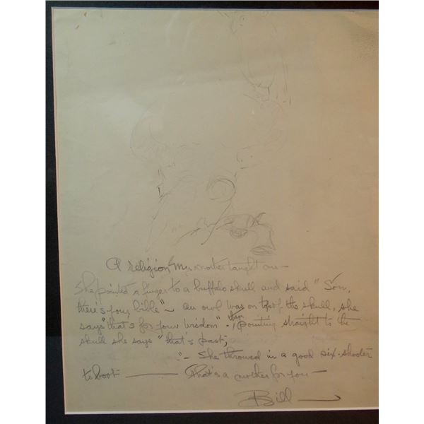 Will James original drawing, (1892-1942) A Religion of My Mother, signed Bill, 11  x 9
