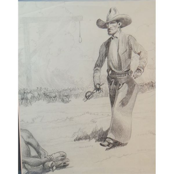 """Will James original drawing, (1892-1942) Will with Branding Iron, unsigned, 10"""" x 8"""""""