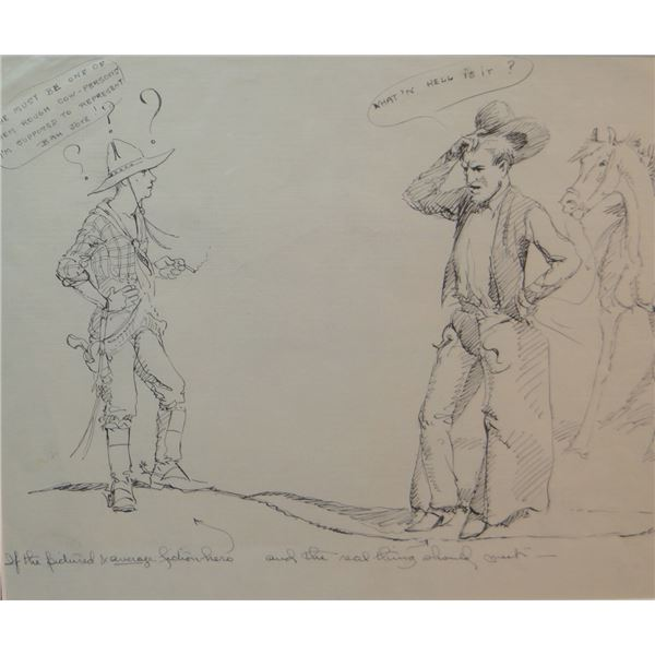 """Will James original pen/ink drawing, (1892-1942) The Dude, unsigned, 8"""" x 9"""""""