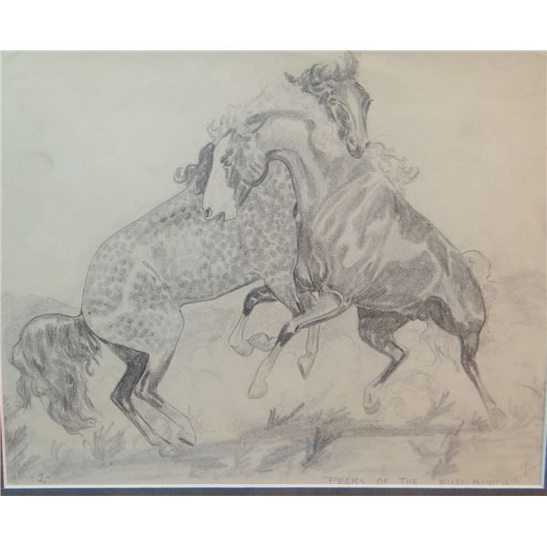 """Will James original drawing, (1892-1942) Peers of the Wild Bunch, signed Big Billy, 9"""" x 12"""""""