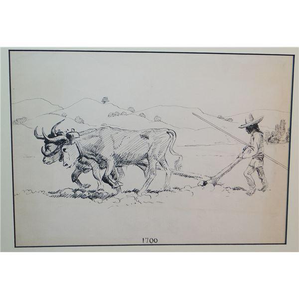 "2 Will James original drawings, (1892-1942) Plowing Sod, 1700 & Plowing Sod,1800, both 8"" x 12"""