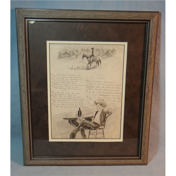 """2 Will James original drawings, (1892-1942) 3 Verse Poem, 12"""" x 9"""" and self portrait, unsigned, 9"""" x"""
