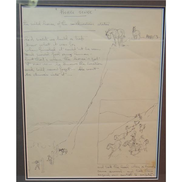 """2 Will James original drawings,(1892-1942) Horse Sense, 10"""" x 8"""" and Trail Traps, 9"""" x 7"""""""