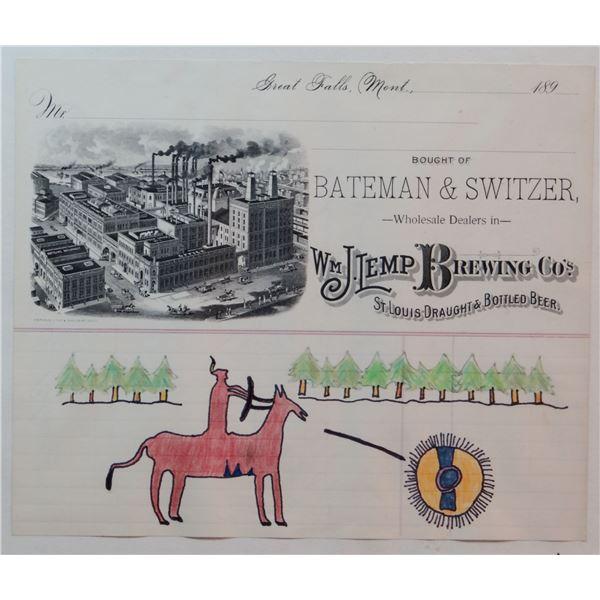 """Indian ledger art, on Bateman & Switzer ledger, 8"""" x 9 1/2"""""""