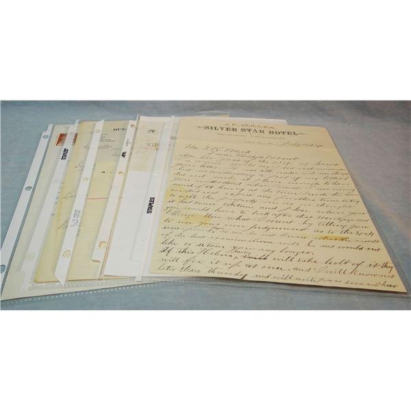 6 Assorted saloon & billiards letterheads, Silver Star, Virginia City, Nevada City, Dupuyer, Miles C