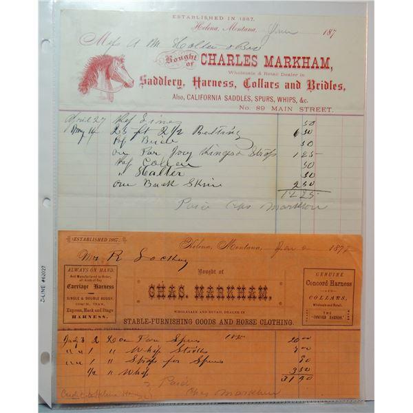 2 -1870s Charles Markham Saddlery, Helena, M. T. letterhead