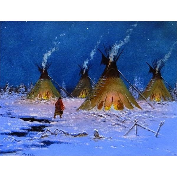 """Cheek, C. R. (1937-2019) oil, Carrying Water in Winter Camp, 11"""" x 14"""""""
