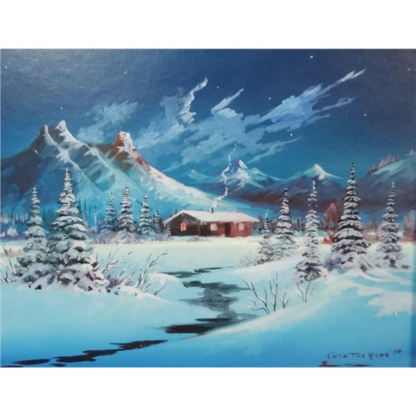 """Cuts The Rope, Clarence, Winter Cabin, oil on board, 14"""" x 18"""", 1994"""
