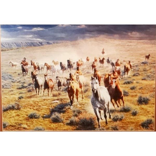 "Cox, Tim limited edition framed print, Rumbling Thunder-Herd of Horses, 21"" x 28"", beautiful oak fra"