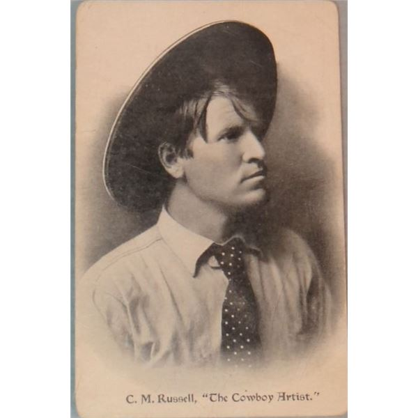 """C. M. Russell (1864-1926) signed post card, portrait of CMR-photo side, """"Best Wishes To George From"""