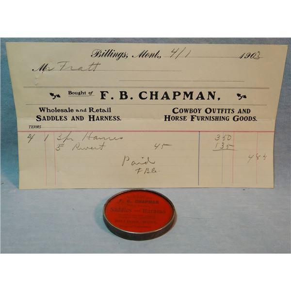 MT Rare advertising mirror, F. B. Chapman Saddles & Harnesses, Billings, MT