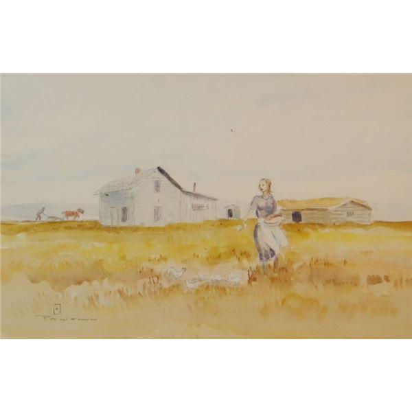 Powell, Ace (1912-1978), oil, Pioneer's Prairie Home,