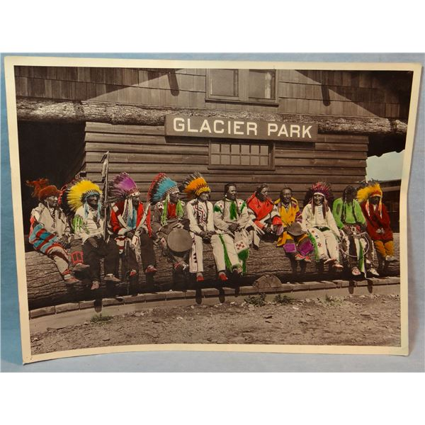 "T. J. Hileman hand-colored photo, 10"" x 13 ½"",11 Blackfeet Chiefs at East Glacier Depot. Est. $200 –"