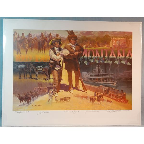 """Gary Carter """"Montana Centennial"""" print, #1326/1989, signed by 4 former MT Governors, Tim Babcock, Fo"""
