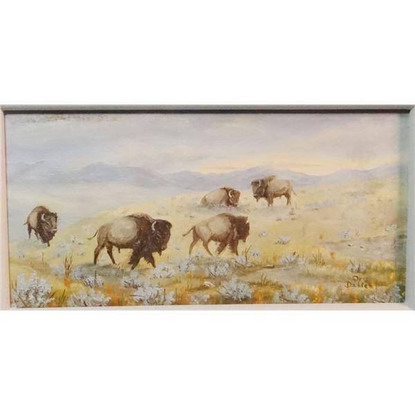 """Dahlen, Oris, (1918-2003) As The Buffalo Roam, oil, 7"""" x 12"""""""